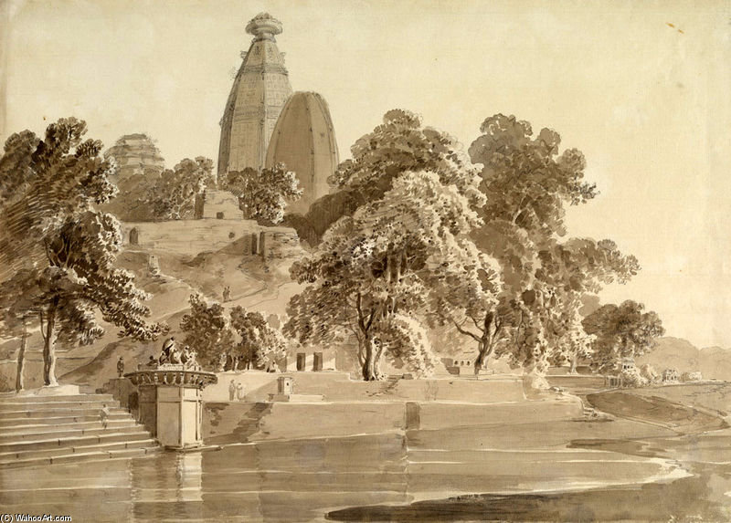 Madan Mohan Temple, A Yamuna, Vrindavan por Thomas And William Daniell (1769-1837, United Kingdom)