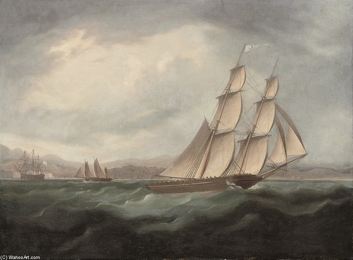 A Brig execução sob Full Sail In The Mediterranean por Thomas Buttersworth (1768-1842, United Kingdom)