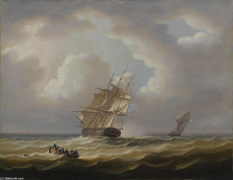 Uma Britânico Fragata Hove-to com ela Jollyboat Preparando Para Arrancar um homem do Mar por Thomas Buttersworth (1768-1842, United Kingdom)