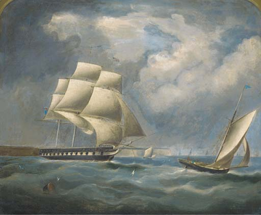 A Fragata Sob Rig reduzido no Canal por Thomas Buttersworth (1768-1842, United Kingdom)