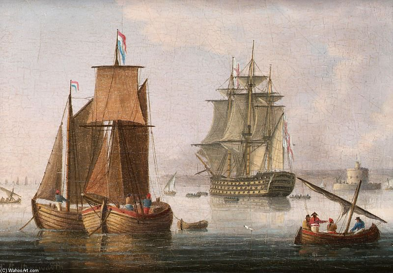 A Grande First Rate, disse ser HMS 'vitória', situada ao largo da foz do Tejo por Thomas Buttersworth (1768-1842, United Kingdom) | ArtsDot.com
