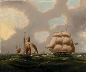 Thomas Buttersworth - A fragata naval e Yawl no canal