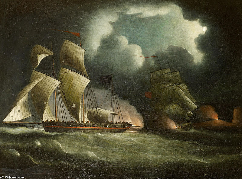 A Royal Navy Brig Chasing e envolvente A bem armados pirata Lugger por Thomas Buttersworth (1768-1842, United Kingdom)
