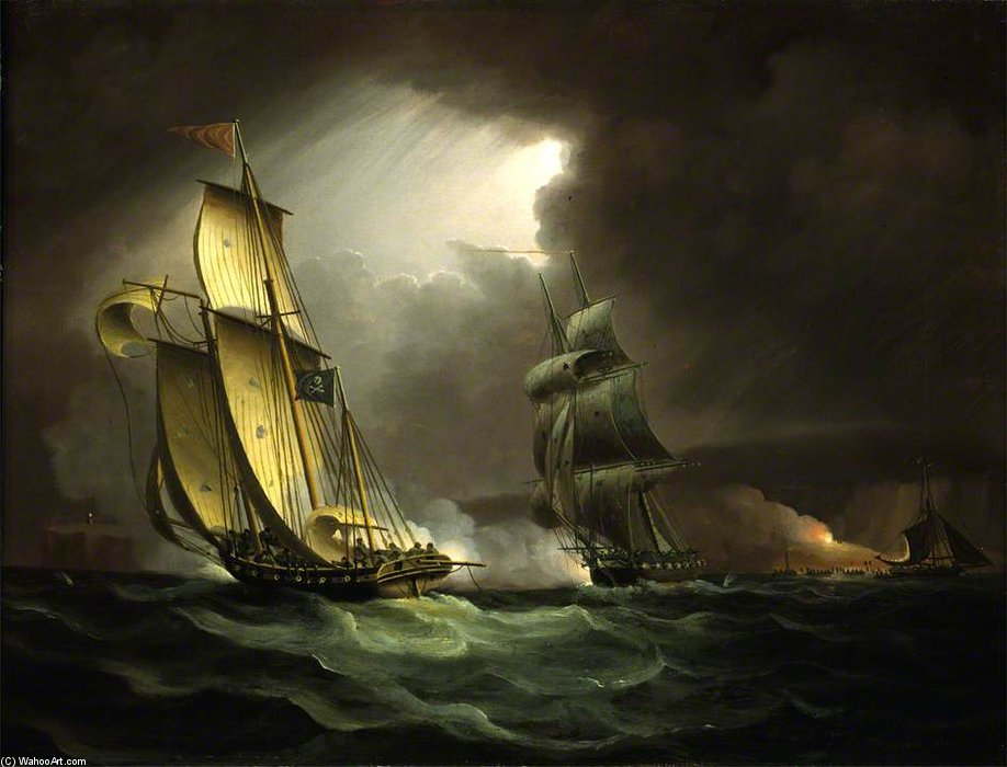 A Lugger Contrabando perseguido por um Brig Naval - por Thomas Buttersworth (1768-1842, United Kingdom)