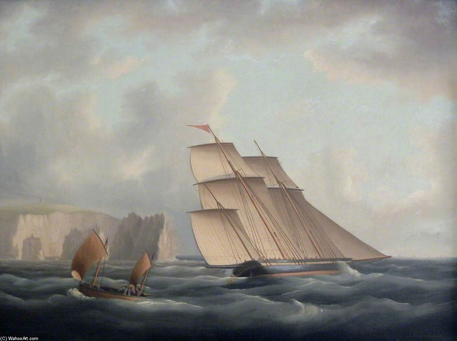 A Lugger três mastros Off The Needles por Thomas Buttersworth (1768-1842, United Kingdom)