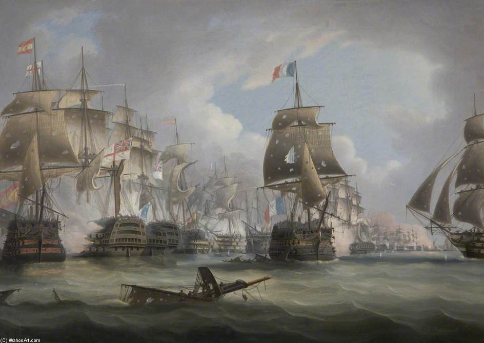Batalha de Trafalgar por Thomas Buttersworth (1768-1842, United Kingdom)