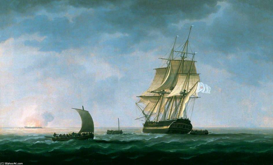 Hms 'hindostahn' em chamas , Rosas Baía por Thomas Buttersworth (1768-1842, United Kingdom)