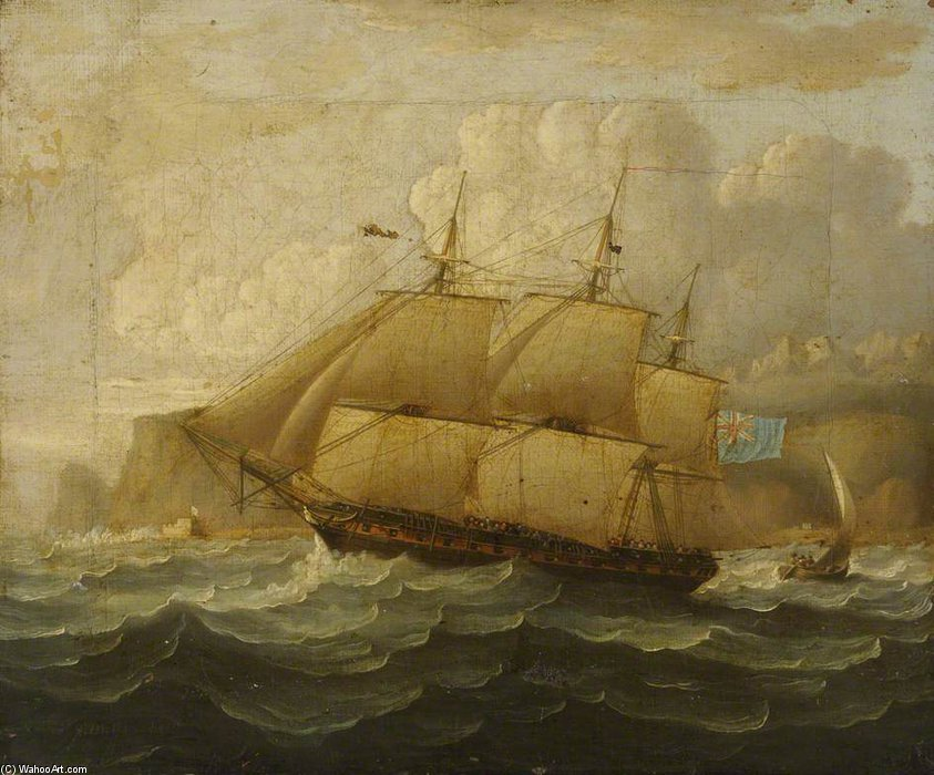 HMS Leander At Sea por Thomas Buttersworth (1768-1842, United Kingdom)