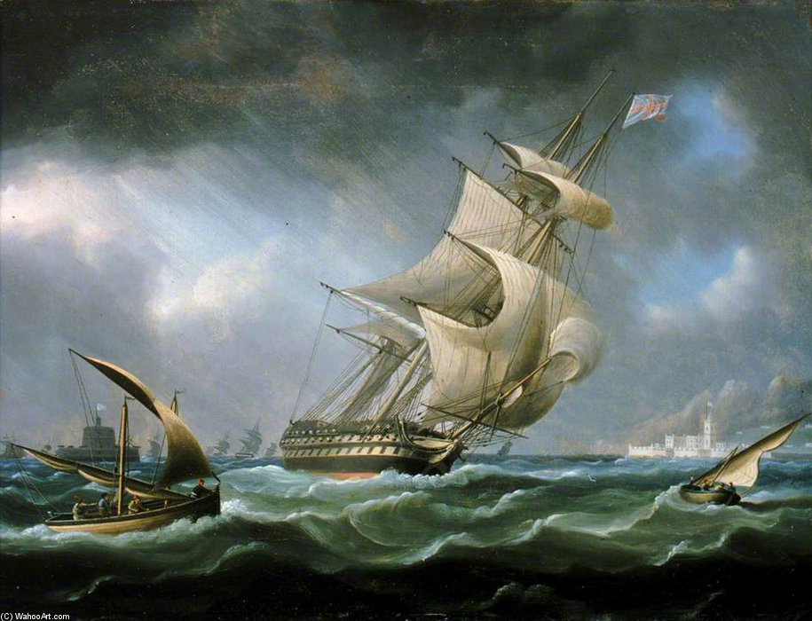 HMS Guerreiro fora da Boca do Rio Tejo por Thomas Buttersworth (1768-1842, United Kingdom)