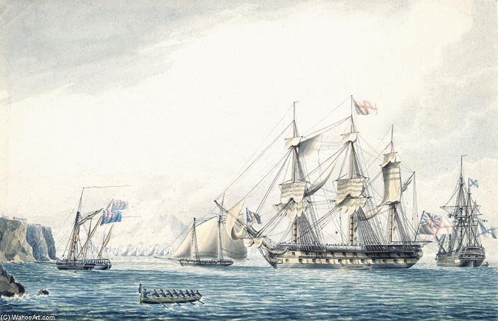 navio argo com em russo aviar por Thomas Buttersworth (1768-1842, United Kingdom)