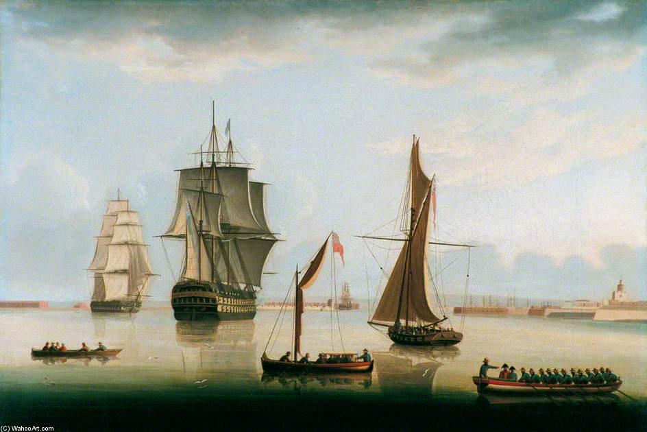 transporte em PORTSMOUTH Porto por Thomas Buttersworth (1768-1842, United Kingdom) | Copy Pintura | ArtsDot.com