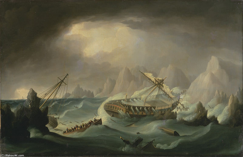 naufrágio fora  uma  rochoso  costa  por Thomas Buttersworth (1768-1842, United Kingdom)
