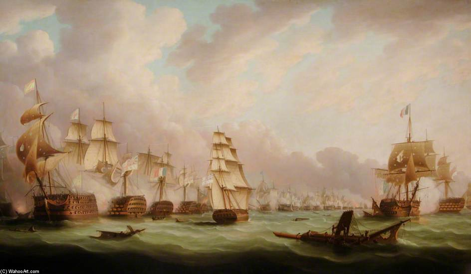 A batalha de Trafalgar por Thomas Buttersworth (1768-1842, United Kingdom)