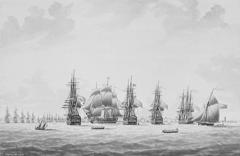 O costeira que bloqueia o esquadrão chegando ao Anchor por Thomas Buttersworth (1768-1842, United Kingdom)