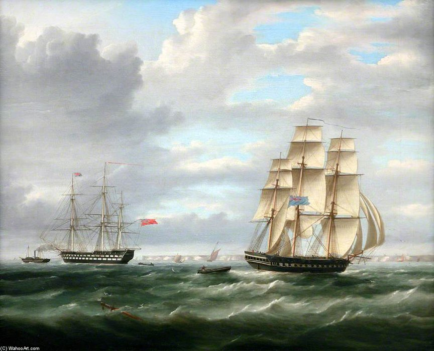 Dois navios de guerra por Thomas Buttersworth (1768-1842, United Kingdom)