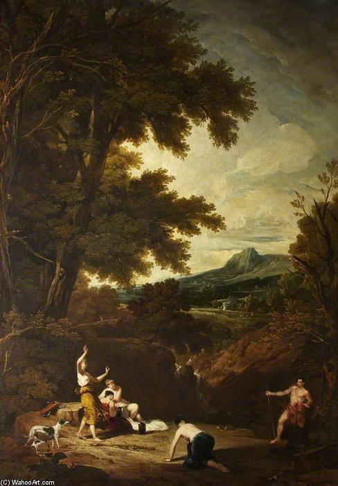 Paisagem clássica com Diana e Actaeon por William Owen (1769-1825, United Kingdom)