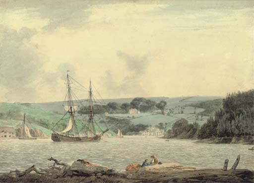 Belle Vue From The Passage No Cap Baixo, Rio Tamar, Cornwall por William Payne (1760-1830, United Kingdom)