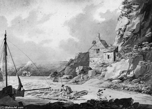 vista Casa de pedra Ponte , Plymouth por William Payne (1760-1830, United Kingdom)