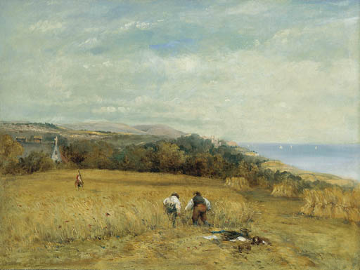 Ceifeiras em um milharal On The Isle Of Wight por Frederick Waters Watts (1800-1870, United Kingdom)