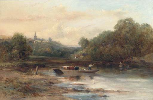The Crossing Gado, Perto Norwich por Frederick Waters Watts (1800-1870, United Kingdom)