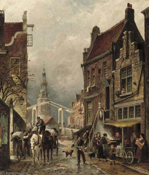 Uma vista do Bairro Judeu Com Os Oudeschans And The Montelbaanstoren por Cornelis Christiaan Dommelshuizen (1842-1928, Netherlands)