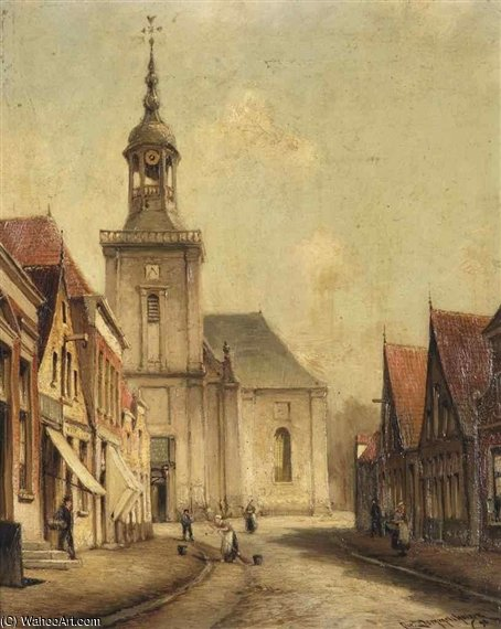 A View Of The Kerkstraat Em Almelo por Cornelis Christiaan Dommelshuizen (1842-1928, Netherlands)