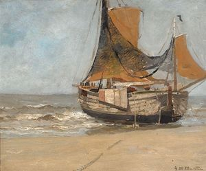 Gerhard Arij Ludwig Morgenstje Munthe - Barge On The Beach