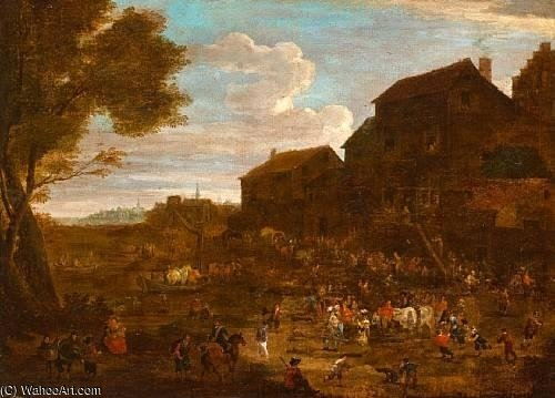 The Village Fête por Mathys Schoevaerdts (1665-1710, Belgium)