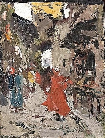 Walking In The City por Raffaelo Sorbi (1844-1931, Italy)