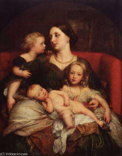 mrs george augustus frederick cavendish Bentinck e seus filhos por Frederick Waters (William) Watts (1800-1870, United Kingdom)
