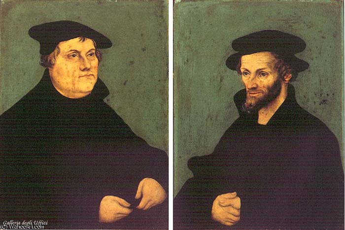retratos de Martinho Lutero e Philipp Melanchthon por Lucas Cranach The Elder (1472-1553, Germany)