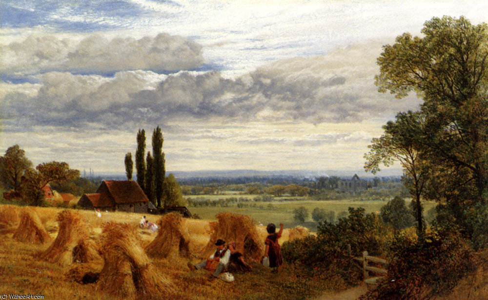 Colheita perto de Newark surrey Ripley priorado por Frederick William Hulme (1816-1884, United Kingdom)