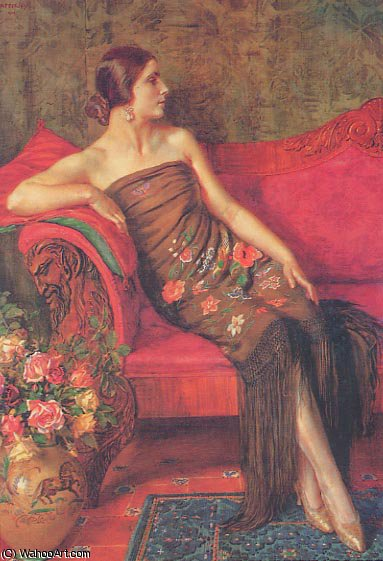 Rosa granadina por Jorge Apperley (George Owen Wynne Apperley) (1884-1960, United Kingdom)
