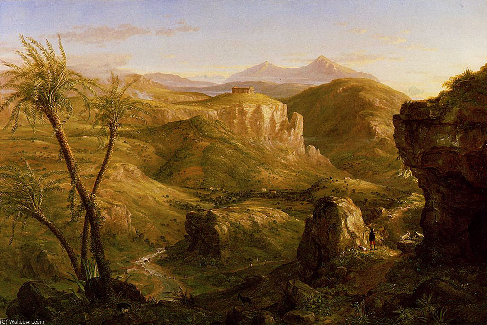 As Vale e Templo de Segesta Sicília por Thomas Cole (1801-1848, United Kingdom)
