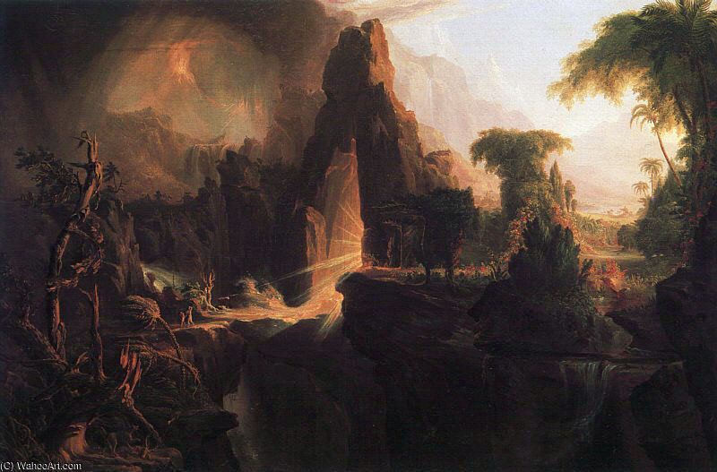 Expulsão do Jardim do Éden por Thomas Cole (1801-1848, United Kingdom)