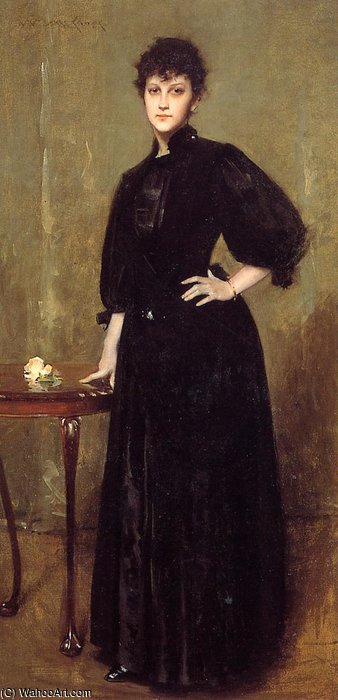 Lady in Black aka Sra Leslie algodão por William Merritt Chase (1849-1916, United States)