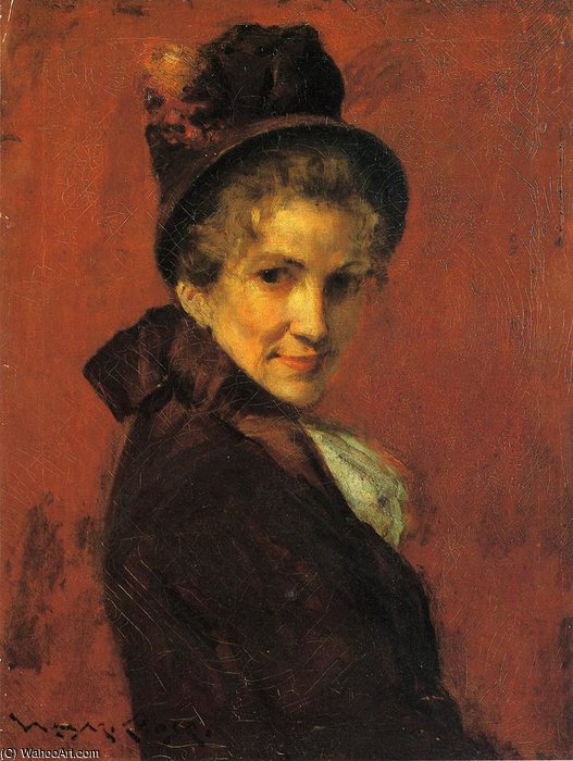 retrato de uma woman preto  gorro  por William Merritt Chase (1849-1916, United States)