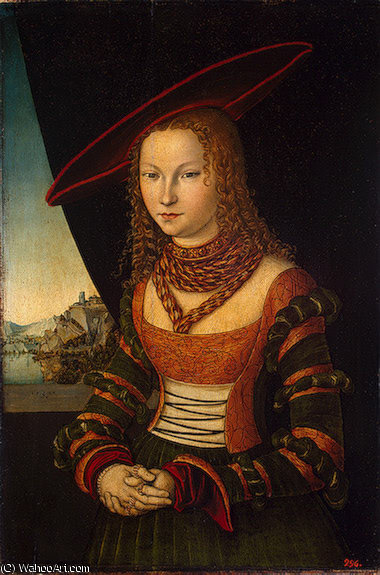 retrato de uma woman , Eremit, 1526 por Lucas Cranach The Elder (1472-1553, Germany)