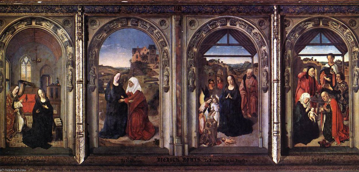 Triptych do Virgiin por Dieric Bouts (1415-1475)