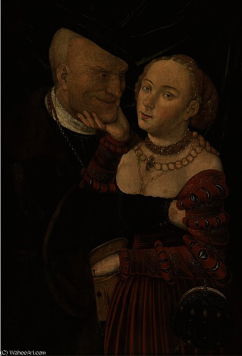 Amantes maus-pareados por Lucas Cranach The Elder (1472-1553, Germany)
