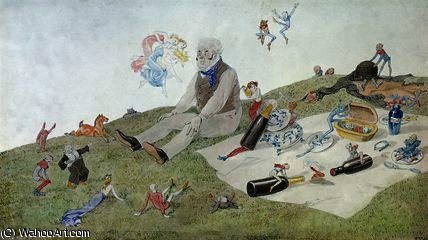 um encantado  piquenique  por Charles Altamont Doyle (1832-1893, United Kingdom)