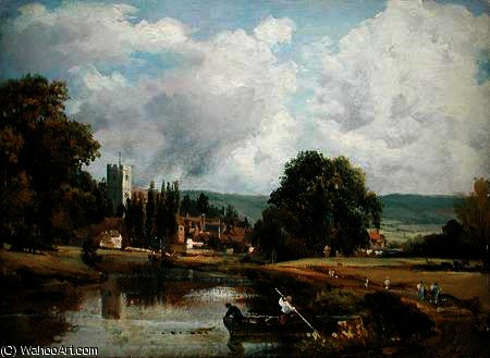 Aylesford , Kent , do Rio Medway por Frederick Waters (William) Watts (1800-1870, United Kingdom)