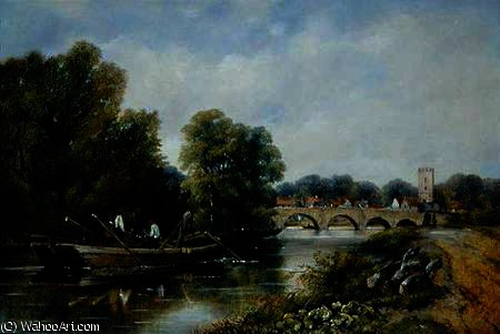 a ponte na Henley-on-Thames por Frederick Waters (William) Watts (1800-1870, United Kingdom)