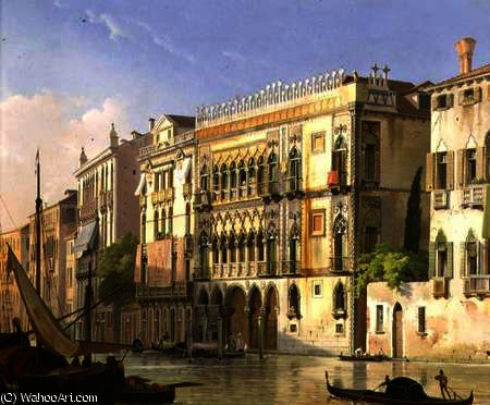 o Ca' d'Oro , Veneza por Friedrich Nerly (1808-1878, Germany)