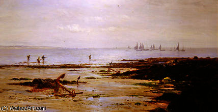 Shrimpers Cornish por Gustave De Breanski (1856-1898, United Kingdom)