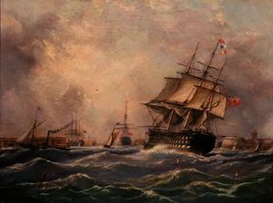 Thomas Buttersworth - Navio de guerra britânico off Portsmouth,