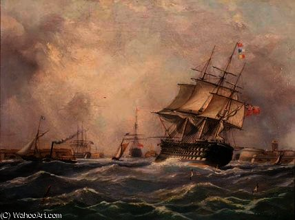 Navio de guerra britânico off Portsmouth,, 1840 por Thomas Buttersworth (1768-1842, United Kingdom)