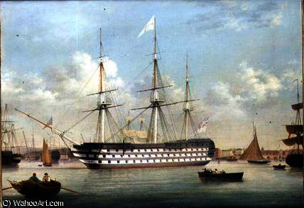 HMS Britannia deitado fora Plymouth por Thomas Buttersworth (1768-1842, United Kingdom)