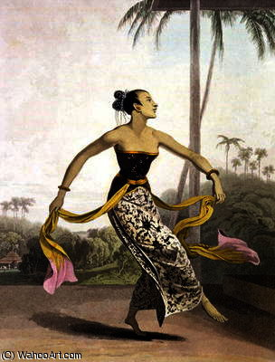 Uma ronggeng ou dança Menina por Thomas And William Daniell (1769-1837, United Kingdom)