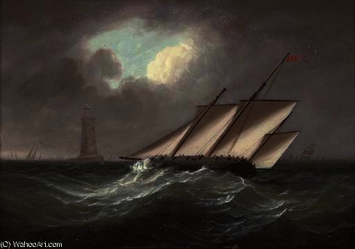 Um adornamento lugger armado na brisa do farol eddystone por Thomas Buttersworth (1768-1842, United Kingdom)